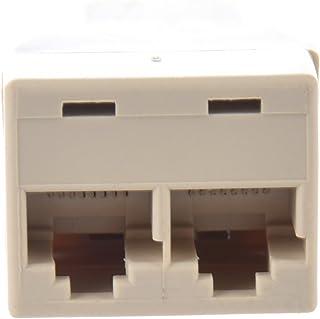 GOUWEI 2 Pcs 3 Way RJ45 LAN Network Ethernet Splitter Connector Khaki