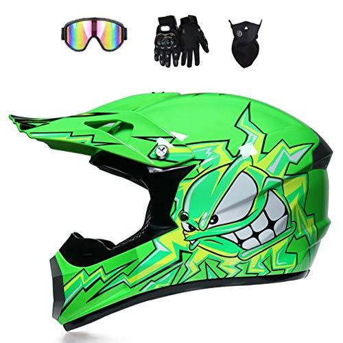 Muccy Cascos de Motocros Verde, Casco Cross Casco de Moto Carrera en Bicicleta Infantil, Cross-Country Montar Exterior Casco de Protección para Mujer Hombre Adultos, Gafas Guantes Máscara