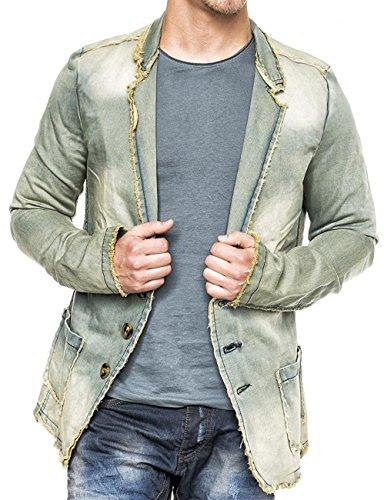 ArizonaShopping Herren Denim Jacke Vintage Jeansjacke Sakko Pitt ID1367, Farben:Beige, Größe Jacken:S