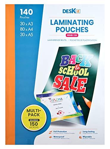 140Lot de pochettes de plastification 30PC. A5, 80PC. A4, 30PC. A3. 150Mic.