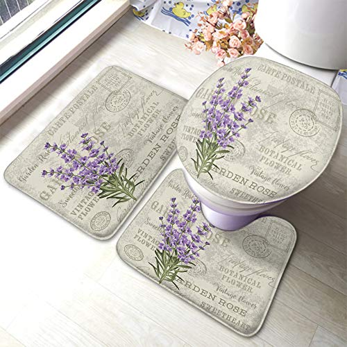 Moslion Lavender Bath Mat Violet Floral Leaves On Vintage Postcard Garden Flower Stamp Bathroom Mat Set 3 Pieces Rug Toilet Seat Lid Cover Non Slip Mat Anti-Skid Pad Purple Beige