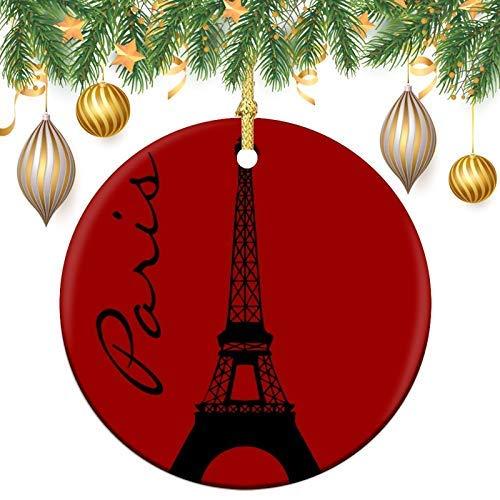 Eiffel tower paris red Christmas Memory Tree Round Ornament, Ceramic Keepsake Decoration Ornament, Xmas Tree Ornaments, Christmas Baubles Hanging Pendants