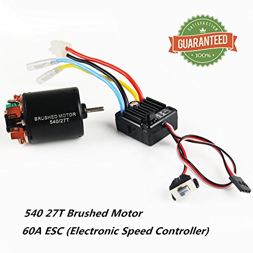 Crazepony-UK 540 27T 4 Poles Brushed Motor and 60A Brushed ESC Electronic Speed Controller Shaft 3.175mm for 1/10 RC Car Truck Running Off-Road