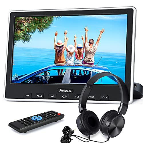 "NAVISKAUTO 10,1\"" DVD Player für Auto HDMI In Tragbarer DVD Player Slot In 1080P HD 1024 * 600 Memory USB SD AV In/Out 12V mit Kopfstützenhalterung/Kopfhörer"
