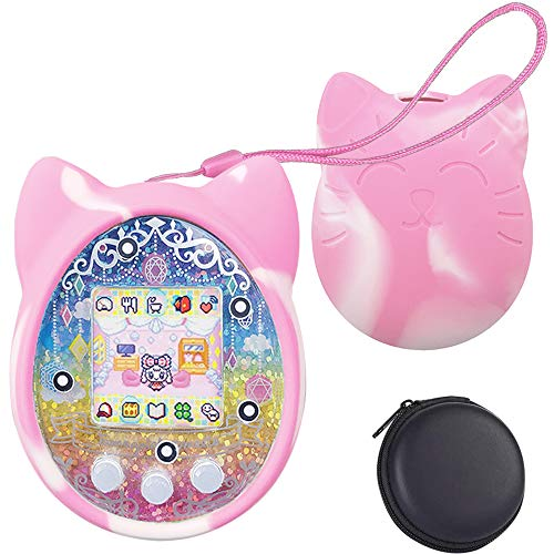 1 Perpetual Deals Tamagotchi Silicone Protective Cover, Protective Sleeve Shell for Tamagotchi On 4u 4U+ PS mix iDL iD and Meets, with Hand Strap and Hard Carrying Case Cover Pink