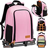 TARION Camera Backpack Waterproof Camera Bag Large Capacity Camera Case with 15 Inch Laptop Compartment Rain Cover for Women Men Photographer Lens Tripod Pink