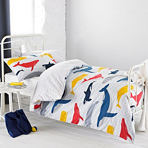 Textile Warehouse Whales Blue White Grey Nautical Chevron Boys Girls Kids Childrens Duvet Quilt Cover Bedding Set Single