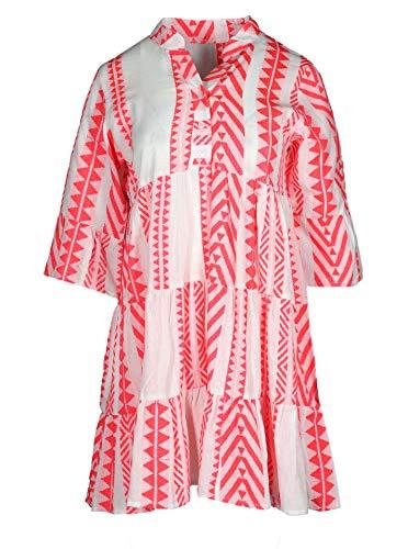 Zwillingsherz Sommerkleid im Ibiza Design – Hochwertiges Partykleid für Damen Frauen Mädchen - Strandkleid Kurzkleid - Locker luftig - OneSize - Perfekt für Frühling Sommer und Herbst - pink