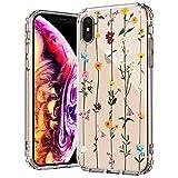 MOSNOVO Coque iPhone XS Max, Fleurs Sauvages Floral Fleur Design Motif Transparente Arrière avec...