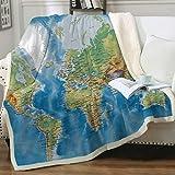 Sleepwish Map Fleece Blanket Blue Throw Blanket Soft Kids Throw Blanket Thick Plush Blanket Vivid 3D Print Map of The World Sherpa Blankets for Teens Kids Boys Girls 50x60 Inches