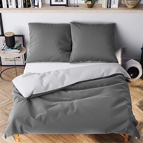 Wolkenfeld Bettwäsche 200x200 grau anthrazit - kuschelig weich & bügelfrei - 3teilig - Bettwäsche-Sets mit [1x] Bettbezug + [2X] Kissenbezug 80x80