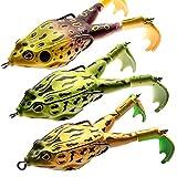3Pcs Double-Blade Frog Whopper Plopper Topwater Fishing Lures for Bass Bait Freshwater Hard Swimbait Fishing Gear Kits Floating Popper Rotating Tail