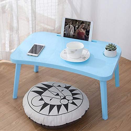 LGFSG Mesa para Ordenador Mesa Plegable para portátil Bandeja de Desayuno para Cama Bandeja Ajustable Plegable con Tapa abatible y Patas Soporte de Escritorio para computadora, Azul
