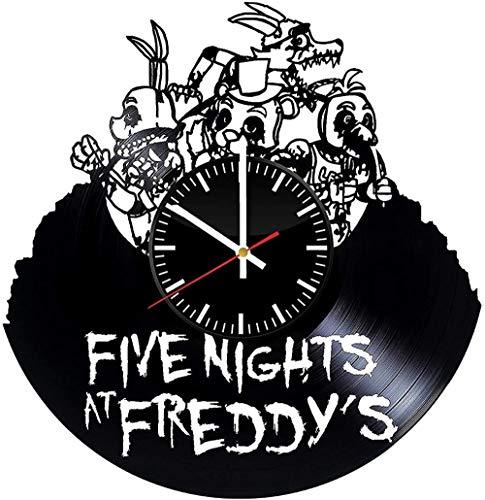 IANGL Cinco Noches en el Reloj de Pared de Vinilo de Freddy, Pesadilla Antes de la víspera de Navidad, decoración de habitación artística, decoración Hecha a Mano, cumpleaños, Retro, Moderno