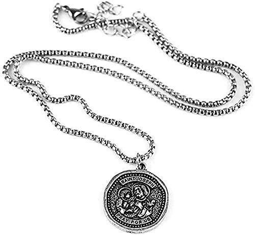 BEISUOSIBYW Co.,Ltd Halskette Vintage Kragen St. Joseph Katholisches Religiöses Geschenk 25 * 25mm Medaille Anhänger Halskette Heilige Patienten Muster