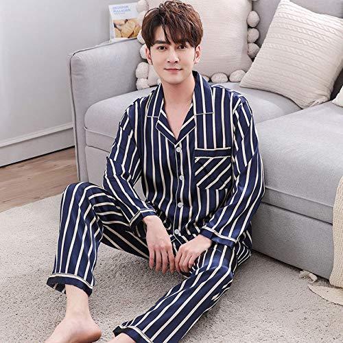 SMYFM pyjama, voor koppels, pyjama, satijn, gestreept, nachtkleding, hi-and-her, kostuum, pyjama, voor verliefden, heren en dames, verliefde kleding