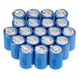 WindMax Blue Color 20 PCS 1.2V 2200mAh Ni-Cd NiCd Rechargeable Battery Batteries 4/5 Sub C SC with Tabs