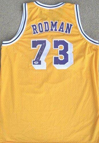 Dennis Rodman Signed Los Angeles Lakers AUTH Jersey PSA - Autographed NBA Jerseys