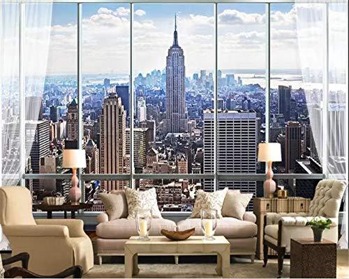 Jidan 3D-Wand-Papier-Aufkleber-Ausgangsdekor Stereo Fenster New Yorker Wallpaper Schlafzimmer Tapeten for Home Wände