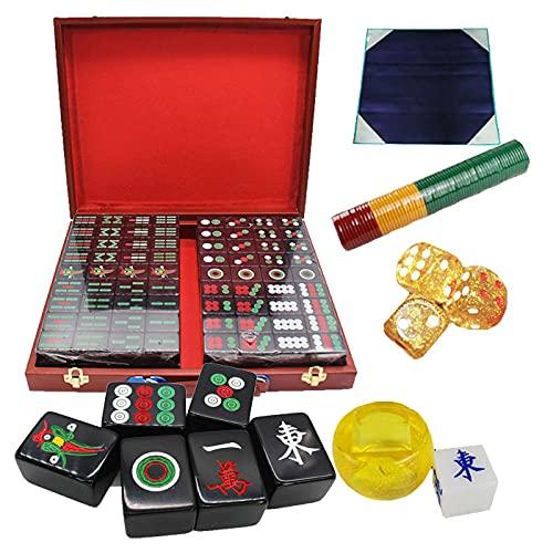 DBGA 144 Set de Mahjong/Mah-jongg, Piezas de Imitación de Marfil Blanco en Una Fina Caja, Juego Completo De Accesorios, para Juegos de Mesa, Ajedrez y Juegos de Cartas