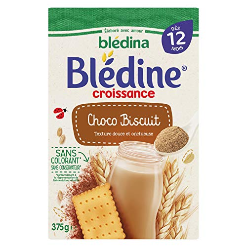 Blédina Blédine Croissance Choco Biscuit - céréales bébé dès 12 Mois 375 g - Pack de 6