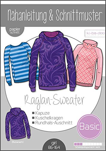 Schnittmuster kibadoo Basic Raglan Sweater Kinder Papierschnittmuster