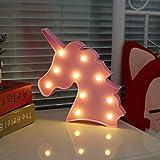 Unicornio Luces de lámpara de luz nocturna LED niños Marquee Letter Unicorn forma Signs Up fiesta de Navidad decoración de pared funciona con pilas de luz (rosa) rosa Pink Unicorn Head