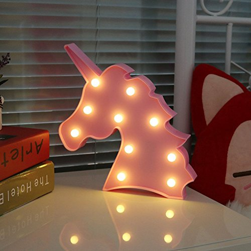 Preisvergleich Produktbild UNICORN LED Night Light Lamp Kids Marquee Letter Lights Unicorn shape Signs Light Up Christmas Party Wall Decoration Battery Operated