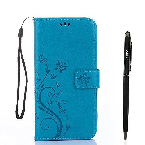Alfort Samsung Galaxy A5 (2017) Hülle, Samsung Galaxy A5 (2017) Schutzhülle, Lederhülle PU Leder Tasche Cover Wallet Hülle für Samsung A5 2017 Smartphone Schmetterling (Blau) + Stylus Pen