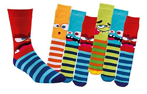 TippTexx 24 6 Paar Kinder Thermo Stoppersocken, ABS Socken für Mädchen & Jungen, Ökotex Standard, Strümpfe mit Noppensohle, viele Muster (Lustige Monster, 23-26)