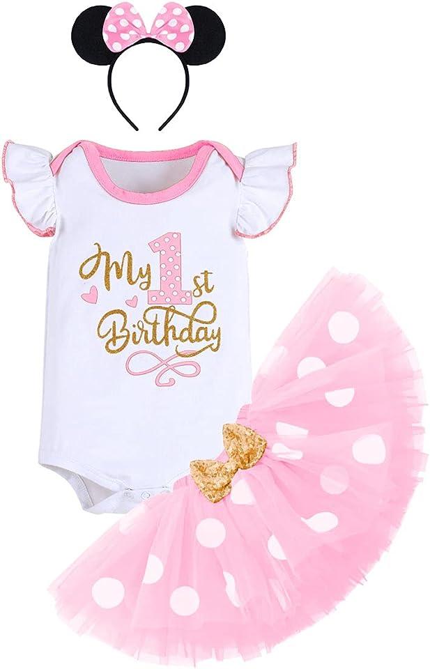 Baby Mädchen 1/2. / 1. / 2. / 3. Geburtstag Outfit Baumwolle Kurzarm Body/Tops + Gepunktet Tütü Rock + Ohr Stirnband 3tlg Bekleidungsset
