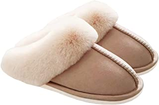 Women's Fur Slippers Slip on Fluffy Warm Soft House Slippers, House Shoes by WATMAID