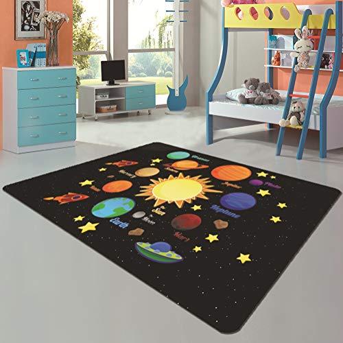 Tapis de Jeu pour bébé Planètes pour Enfants Espace Space Space Design Tapis rampants Tapis antidérapants lavables en Machine pour la décoration de la Chambre d'enfants,B,120×200cm