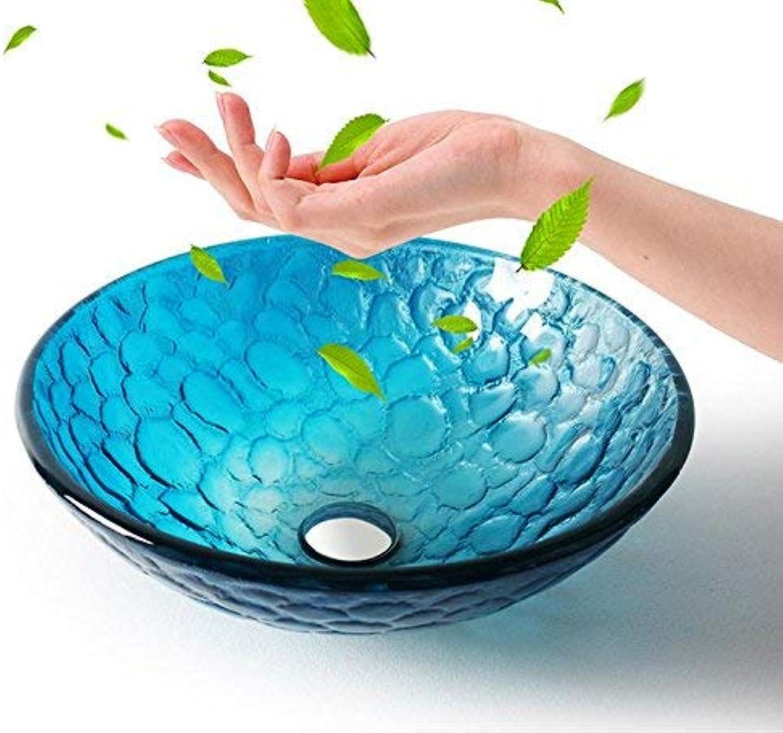 HaoLiao Bad Waschbecken,Waschbecken,Blau Kunst-Glas-Aufsatzbecken, Badezimmer Set Basin (420  145  12 mm), Einzel-Becken