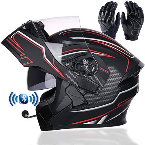 Braveking Motorradhelm, Double Lens Flip Vollvisierhelm Mit Bluetooth-Headset, Unisex-Elektroauto-Schutzhelm, Zu Öffnende Und Zu Schließende Entlüftungsöffnungen, DOT-Zertifiziert,1,XL