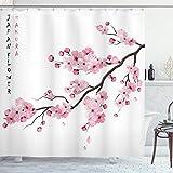 ABAKUHAUS asiático Cortina de Baño, Rama de Cerezo japonés, Material Resistente al Agua Durable Estampa Digital, 175 x 240 cm, Rosa Blanco