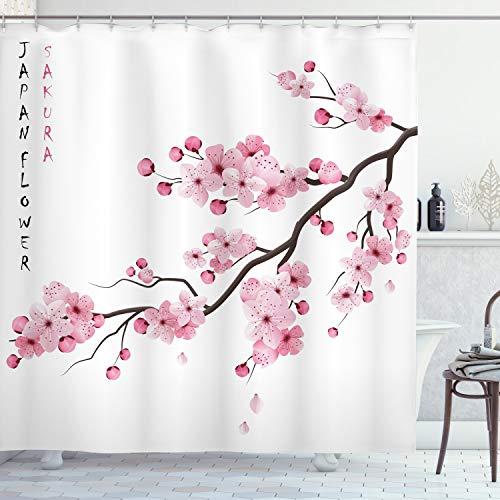 ABAKUHAUS Duschvorhang,Japan Fower Sakura Beschriftung Japanisch Asiatische Boho Illustration mit Rosatönen Druck, Wasser und Blickdicht aus Stoff mit 12 Ringen Schimmel Resistent, 175 X 200 cm