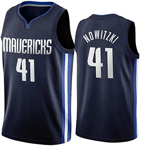 # 41 Dirk Werner Nowitzki Dallas Mavericks Basketballtrikot, atmungsaktive Stickoberteile Basketballtrikot Weste Training Outfit Oberteile Wettkampfanzug-Black-L(180~185)
