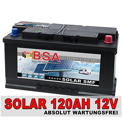 BSA Solar SMF 120AH 12V Solarbatterie Wohnmobil Versorgungsbatterie Batterie ersetzt 100Ah 110Ah