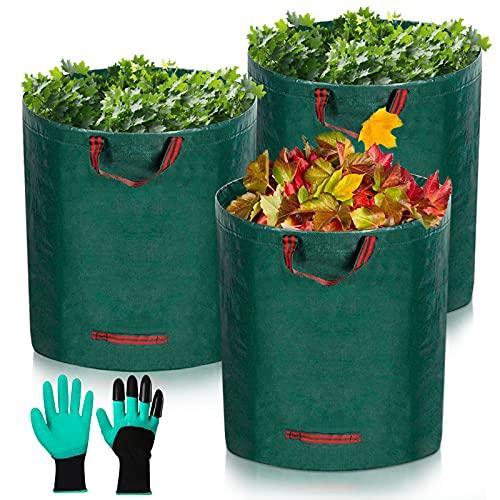 Sacs de Jardin,Sacs à Déchets de Jardin,3x300L Sacs à Déchets de Jardin Résistants,Pliable et Réutilisable,Comprend 1 Paire de Gants de Protection
