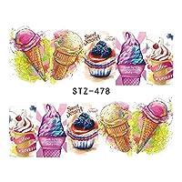 1ピースネイルステッカー夏の水転写デカールフルーツ/アイスクリーム/漫画デザイン一時的な入れ墨スライダーのヒントSASTZ474-488 STZ478