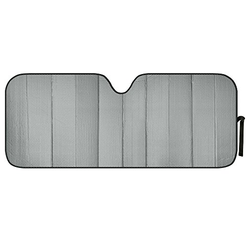 Motor Trend AS-312-GR Front Windshield Sun Shade-Black Jumbo Accordion Folding Auto Sunshade for Car Truck SUV 66 x 27 Inch (Gray)
