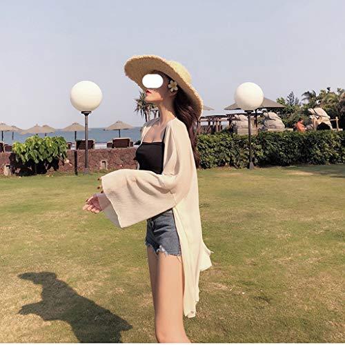 YCZDG Ropa de Protector Solar de Gasa para Vacaciones Fuera de la luz de la Playa de la Playa de Todo Partido de Verano y Elegante Chaqueta Plisada del Cardigan (Size : M)
