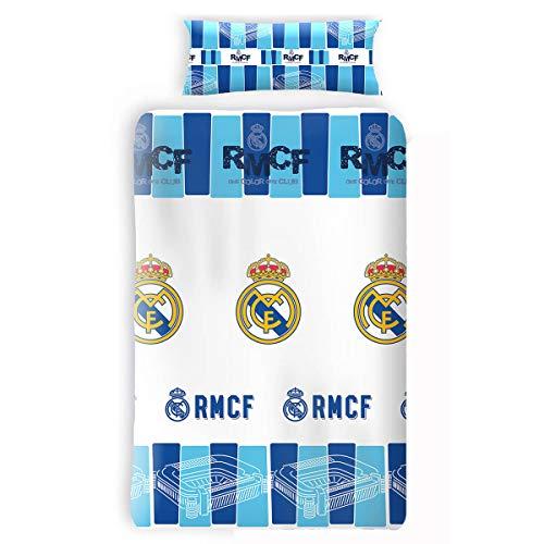 Asditex Funda Nórdica Real Madrid RMCF, Color Único, 2 Piezas (Incluye Funda de Almohada), para Cama de 105cm.