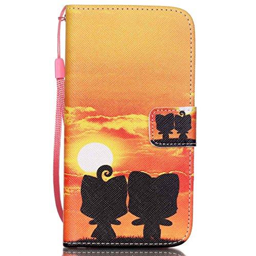 ISAKEN Kompatibel mit Galaxy S5 Mini Hülle, PU Leder Cover Brieftasche Geldbörse Handyhülle Tasche Case Schutzhülle mit Handschlaufe Standfunktion für Samsung Galaxy S5 Mini - Sonnenuntergang Paar