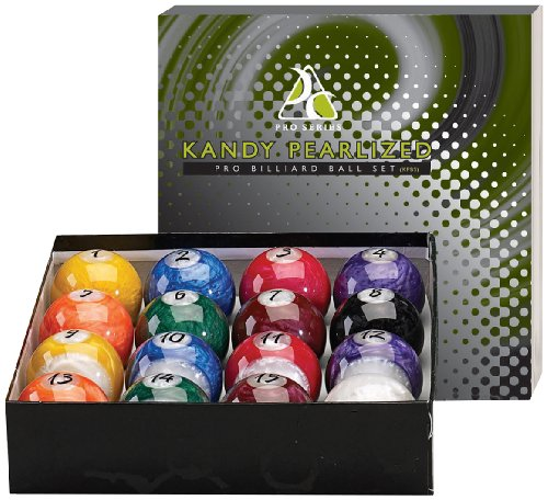 Kandy Pearl Billiards Ball Set - Hi-Gloss, Swirl Marbleized 16 Piece Pool Balls - Full 2 1/4 Size (Lighter Than Regulation Weight) Wet Look and Brilliant Colors KPBS