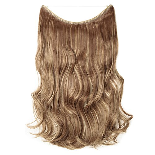 [Promo] 20' Curly Secret String No Clip Hair Extensions Natural Hidden Wire Fish Line Synthetic Hairpieces Adjustable Blackarent Wire Light Brown & ash Blonde
