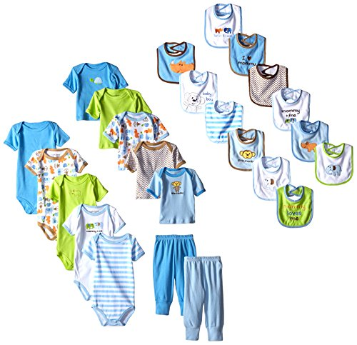 Luvable Friends Baby-Boys Safari Friends 24 Piece Deluxe Gift Cube, Blue Safari, 0-3 Months