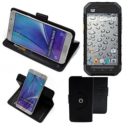 K-S-Trade® Handy Hülle Für Caterpillar Cat S30 Flipcase Smartphone Cover Handy Schutz Bookstyle Schwarz (1x)