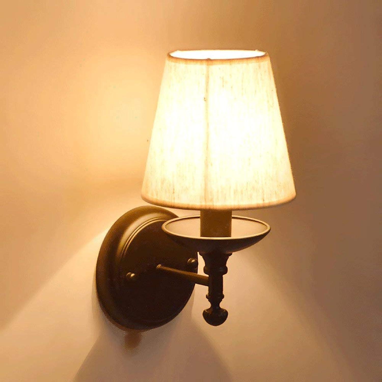 HSY E14 Amerikanischen Landhausstil Vintage Eisen Stoff Wandleuchte Einfache Wandleuchte Korridor Korridor Balkon Schlafzimmer Wohnzimmer Nachttischlampe Dekorative Lampen